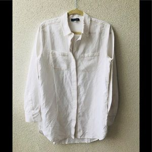 🎂 Lord&taylor oversized white embroidered shirt M